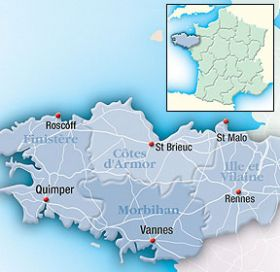 Map of Brittany Region